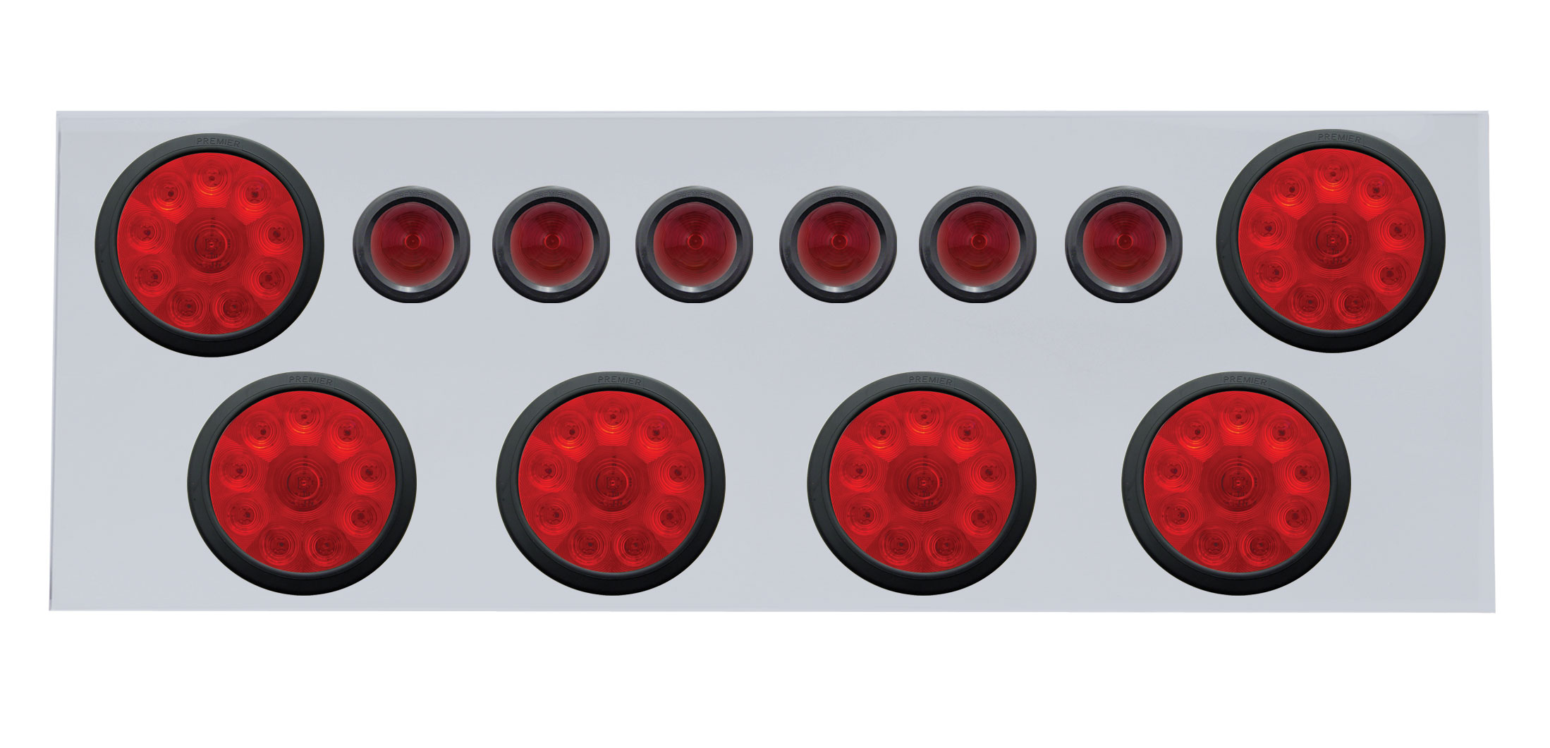 "Stainless Steel Rear Center Light Panel W/ Six 10 Led 4"" & 9 Led 2"" Beehive Light W/ Grommet - Red Led/Red Lens"