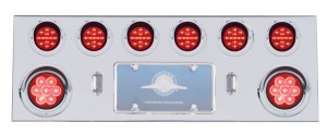"Stainless Steel Rear Center Light Panel W/ Two 7 Led 4"" & Six 13 Led 2 1/2"" Flat Lt W/ Visor - Red Led/Red Lens"